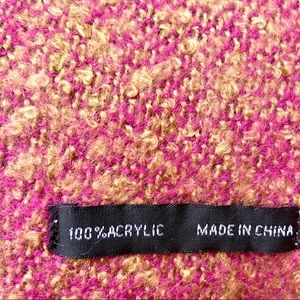 Accessories - Beautiful Acrylic Heathered Pink & Gold Scarf Shaw